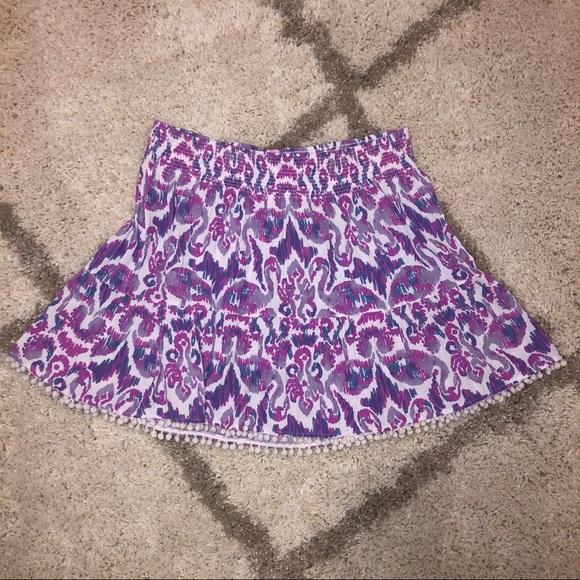 Lilly Pulitzer Dresses & Skirts - NWOT Lilly Pulitzer Purple Print Mini Skirt w/Poms